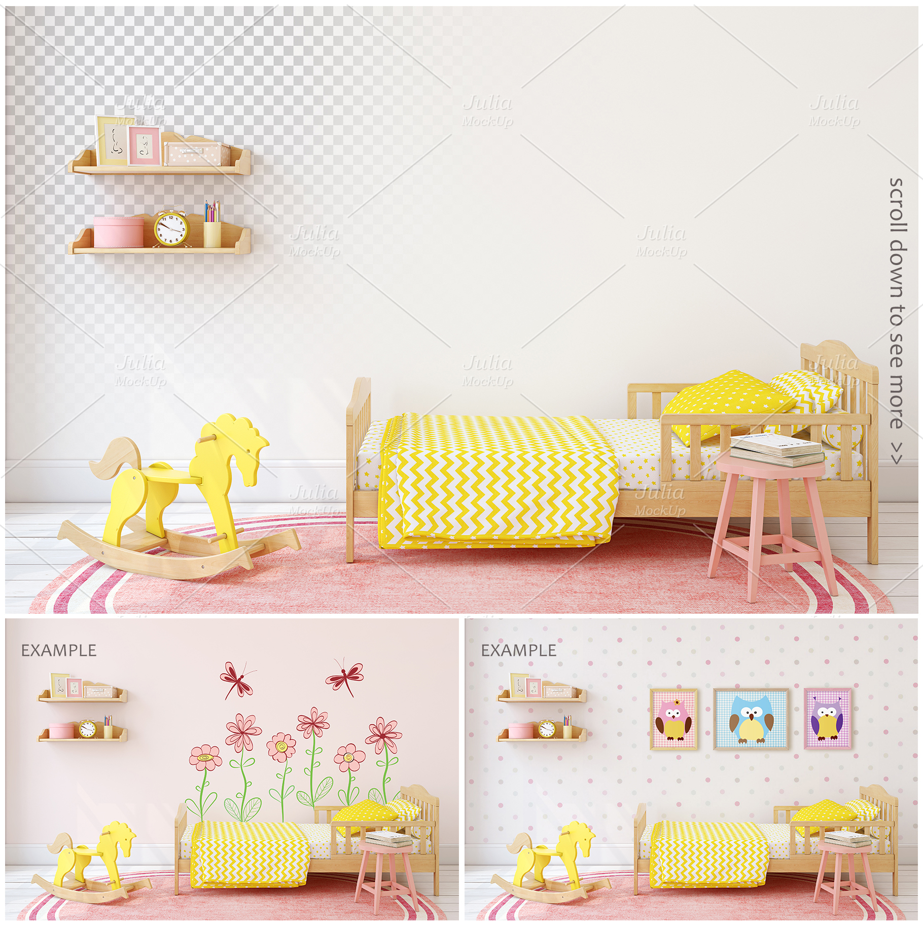 Kid's interiors. Wall&Frames Mockup. example image 4