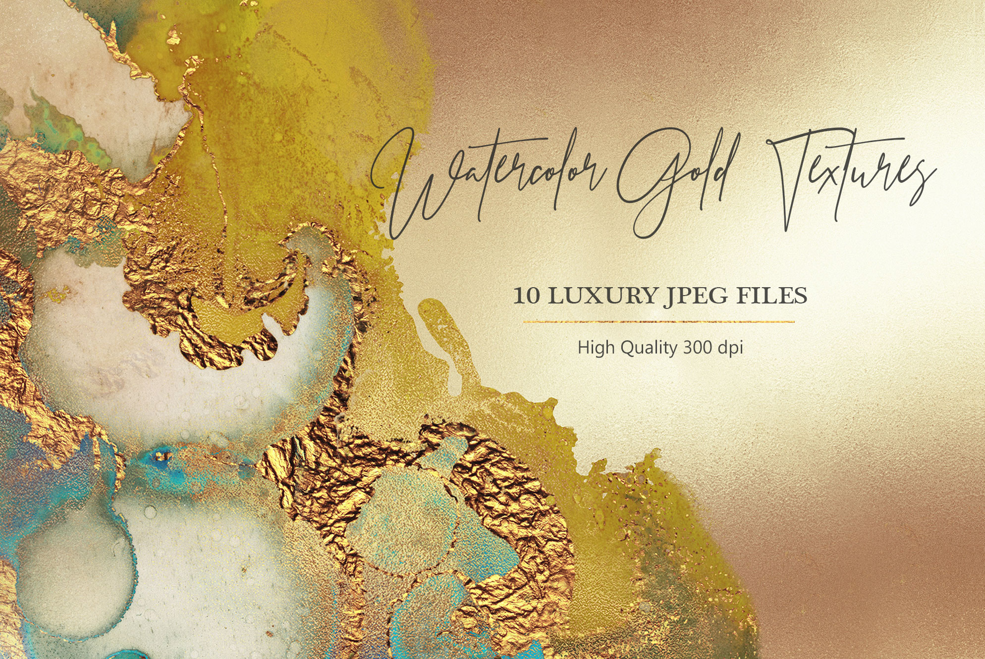 Gold Watercolor and Foil JPG-PNG Textures-BUNDLE example image 17
