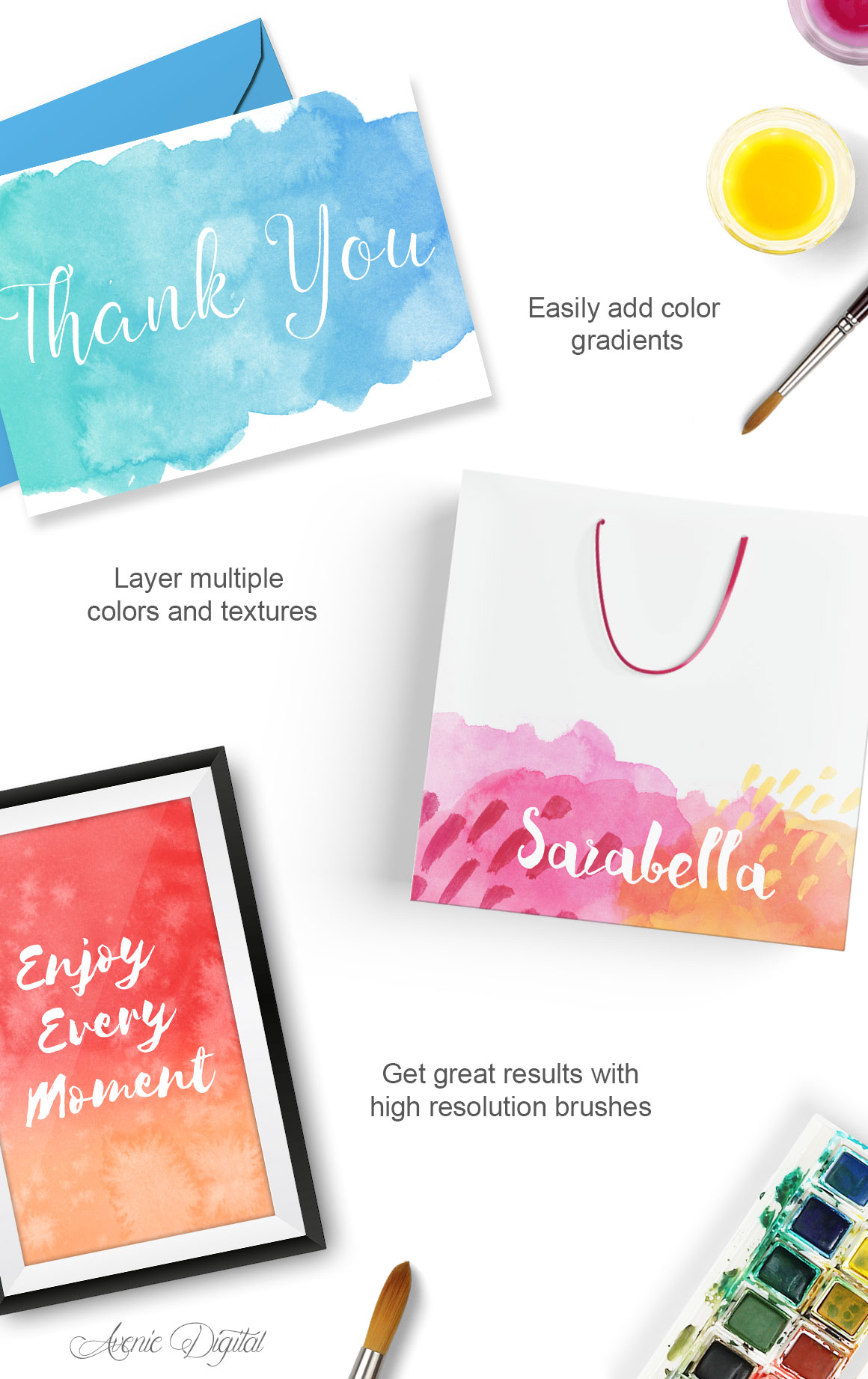 75 Real Watercolor Photoshop Brushes example image 2