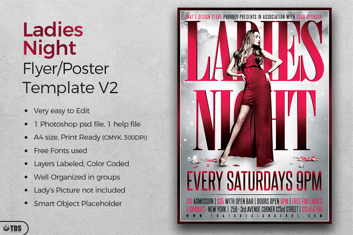 Ladies Night Flyer Poster Template V2 example image 2