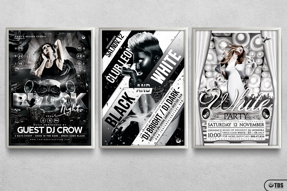 Black and White Party Flyer Bundle example image 11