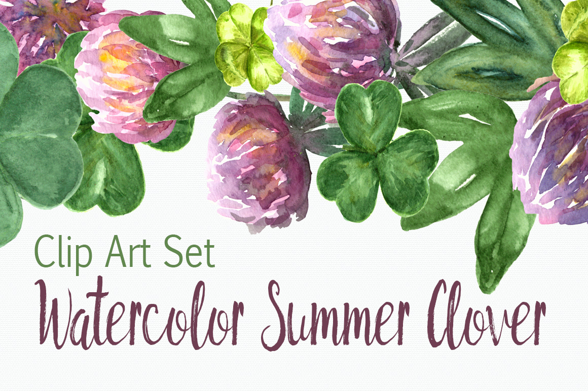 Watercolor Summer Clover Clip Art Set example image 1