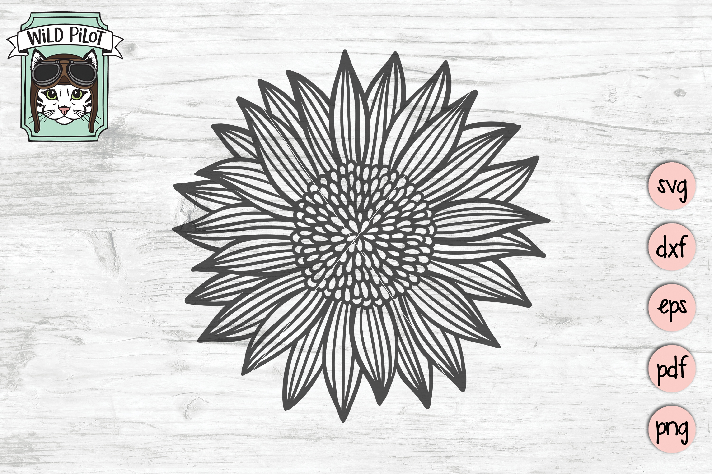 Sunflower SVG file, Flower SVG files, Sunflower cut file example image 1