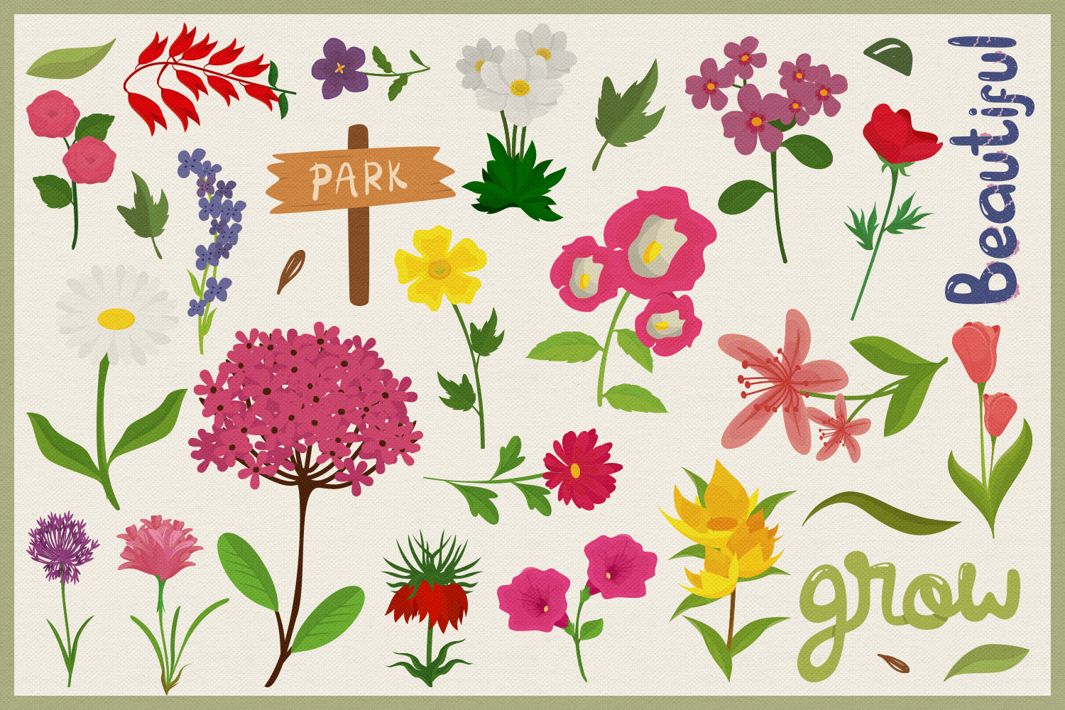 80 Flower Lover Vector Clipart & Seamless Patterns example image 2