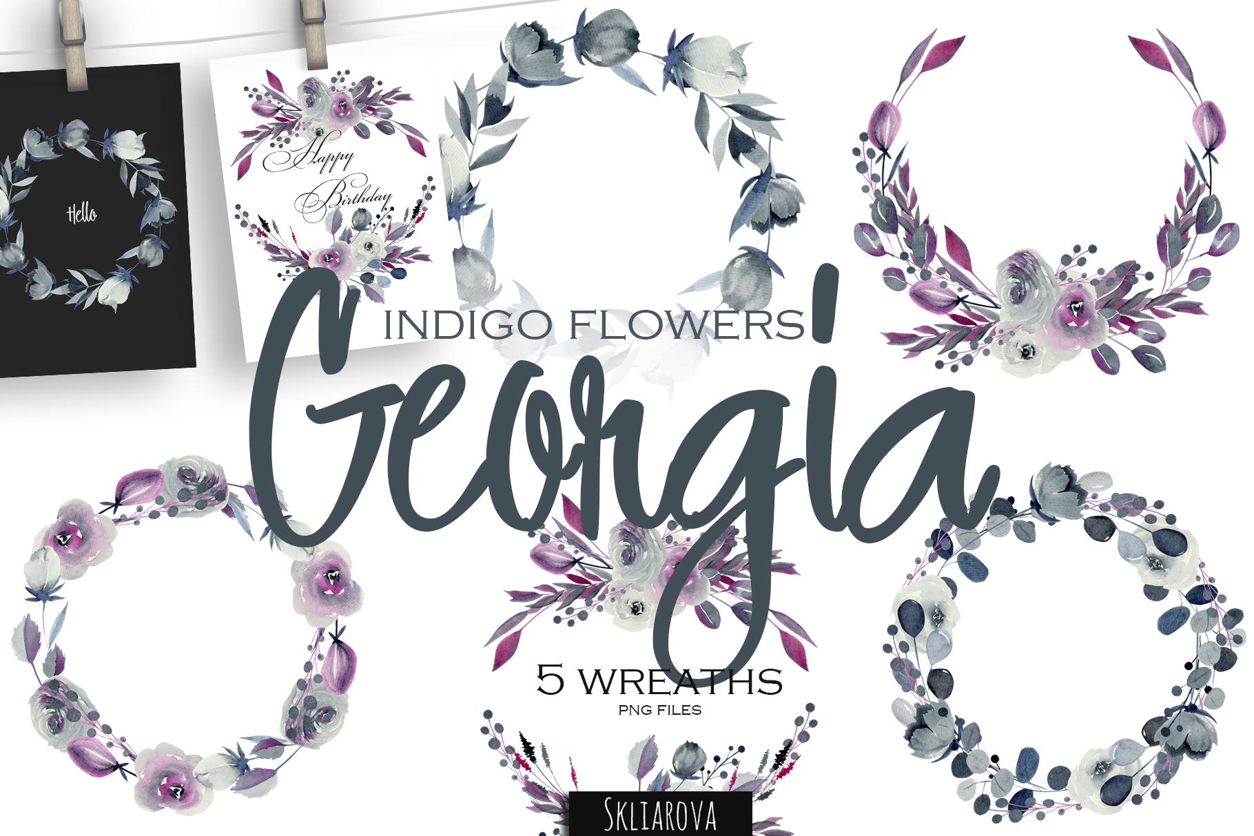 Georgia. 5 indigo Wreaths. example image 1
