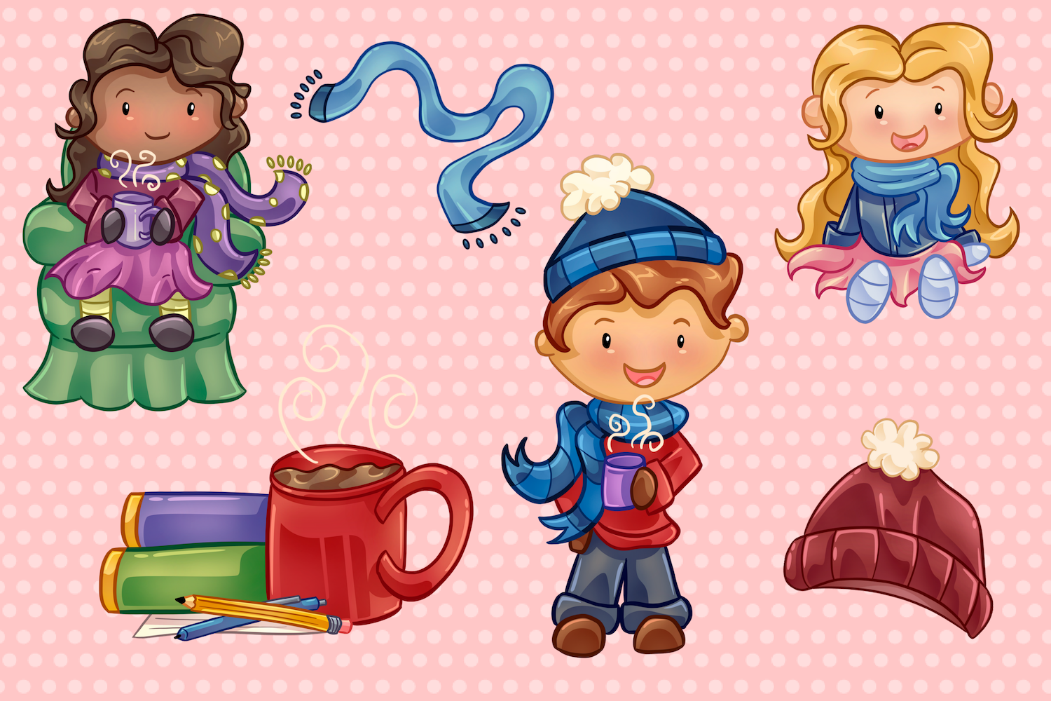 Winter Hot Cocoa Time Illustrations example image 3