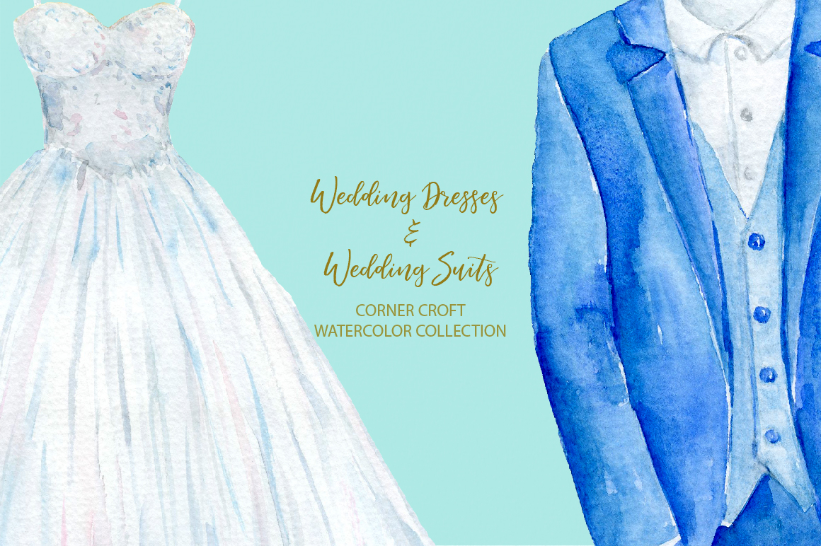 Watercolor wedding outfit on hangers and cloth hooks example image 7