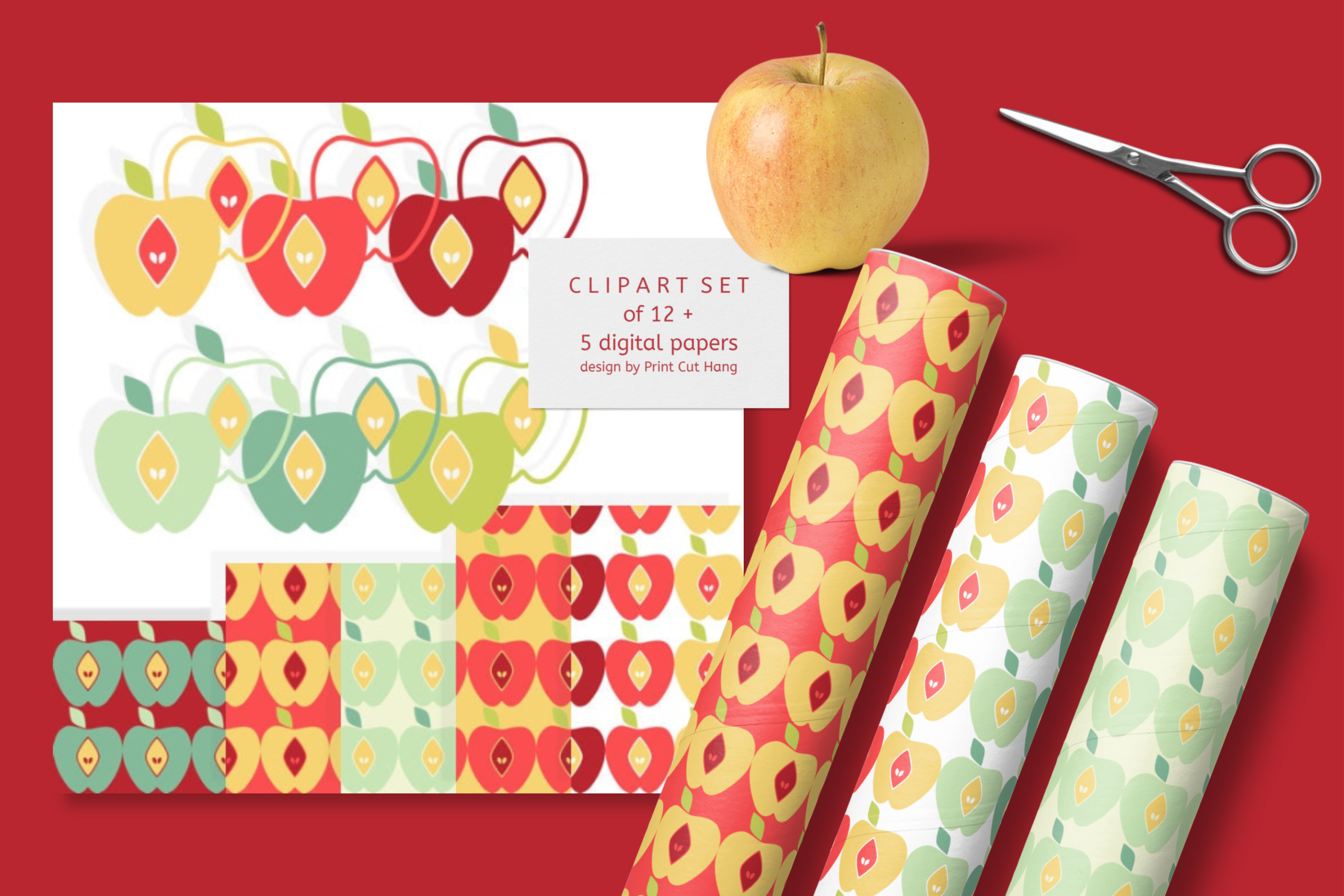 Apples Clipart Set with Matching Digital Collage Sheets PNG example image 3