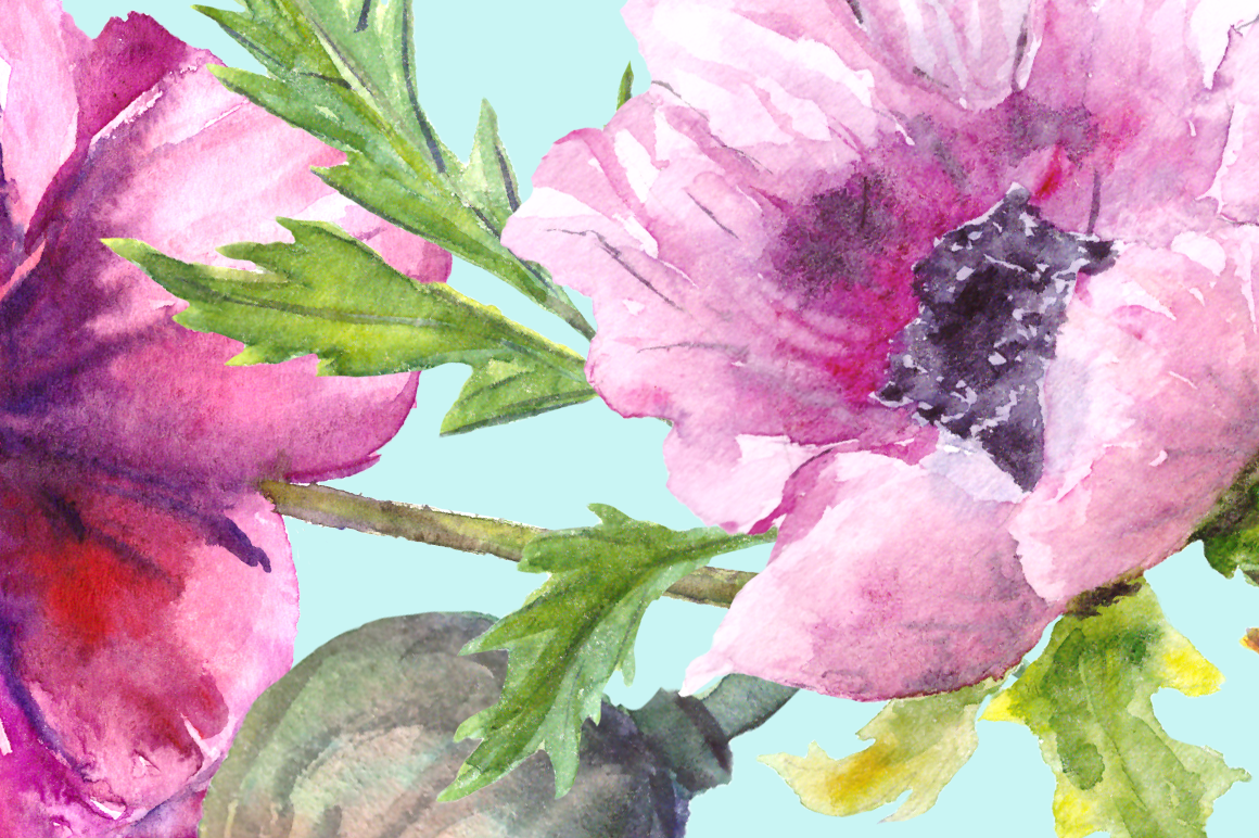 Watercolor Summer Poppies Clip Art - Bonus Wreath and Border example image 2