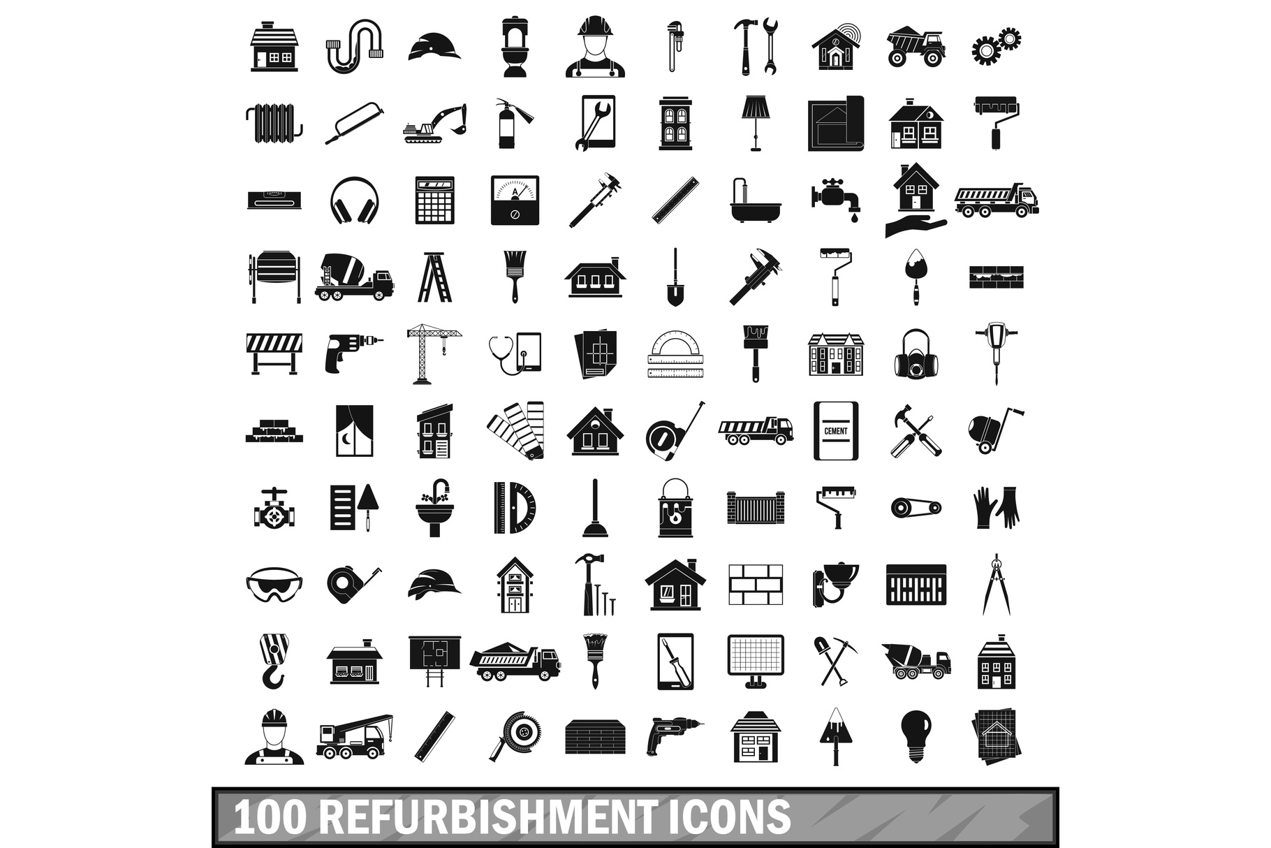 100 refurbishment icons set, simple style example image 1
