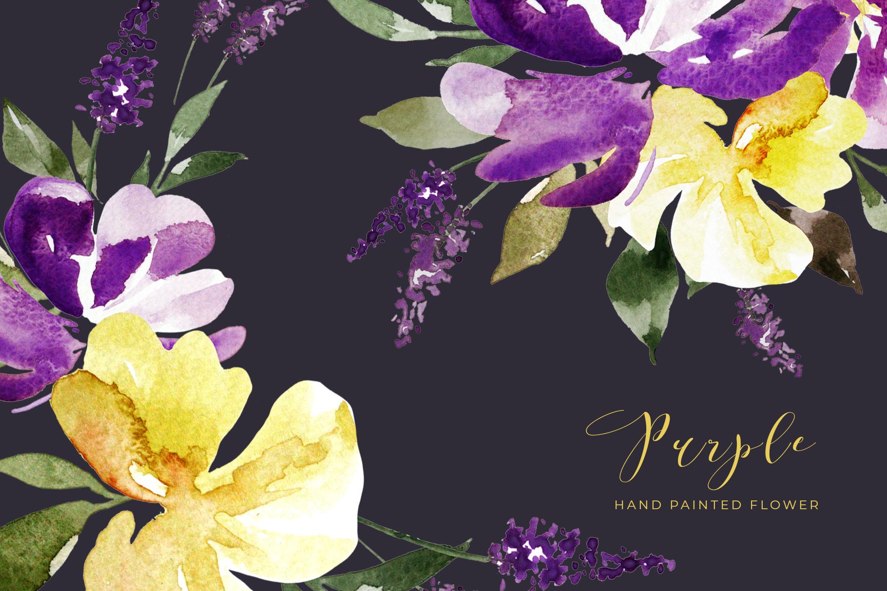 Watercolor Purple Lavender Plum Floral Clipart example image 1