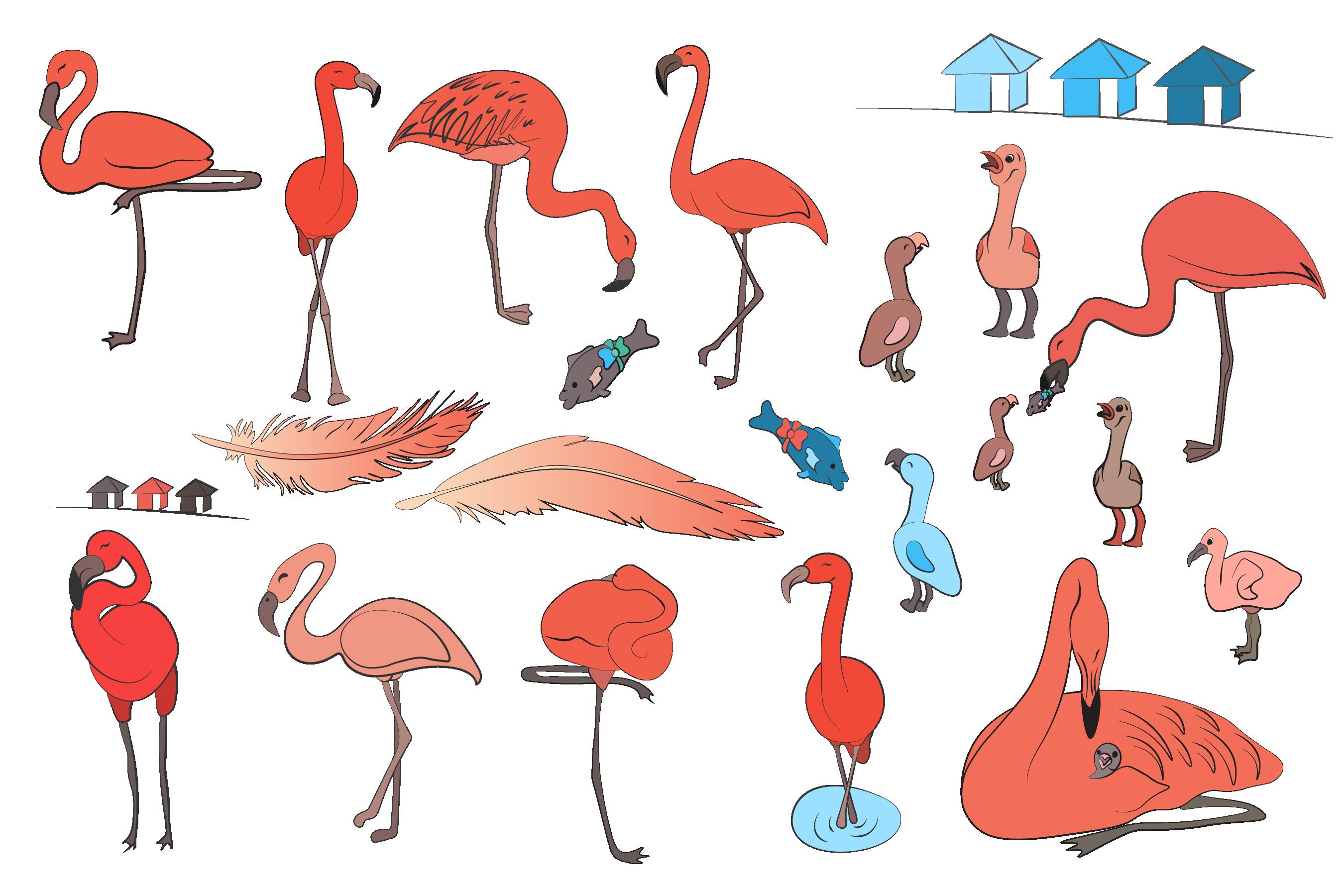 Flamingo Reef- Cute Flamingo's Clipart example image 3
