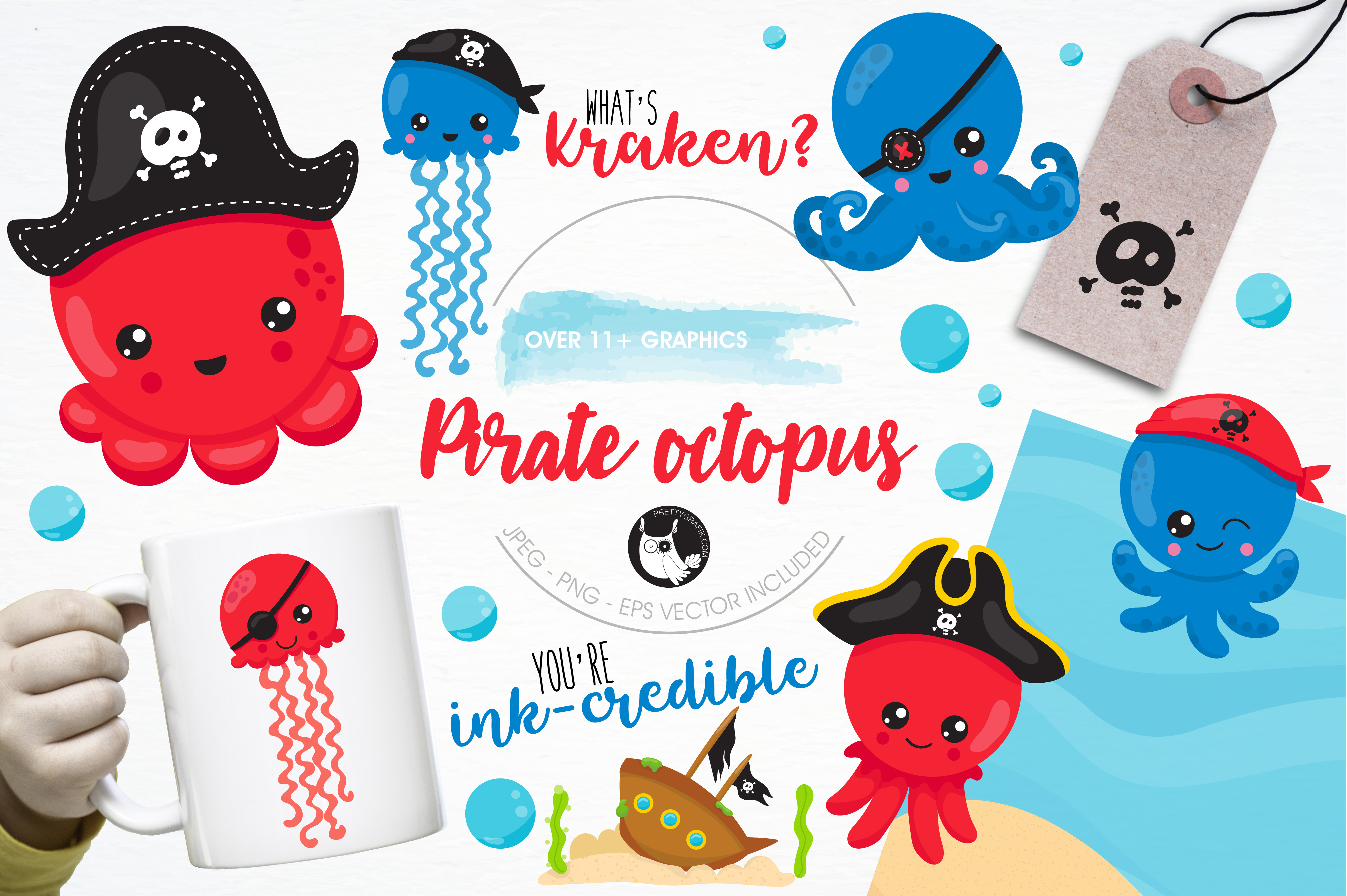 Pirate octopus graphics and illustrations example image 1