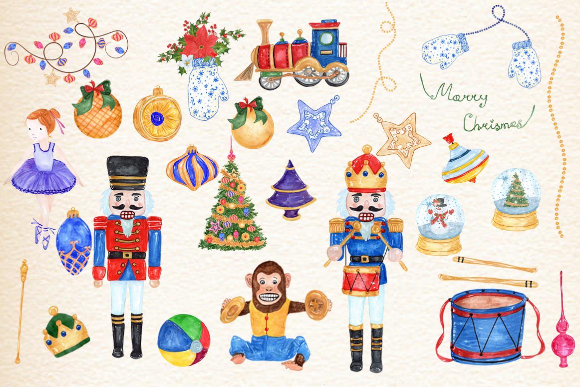 Bundle Watercolor Christmas Kids Clipart example image 16