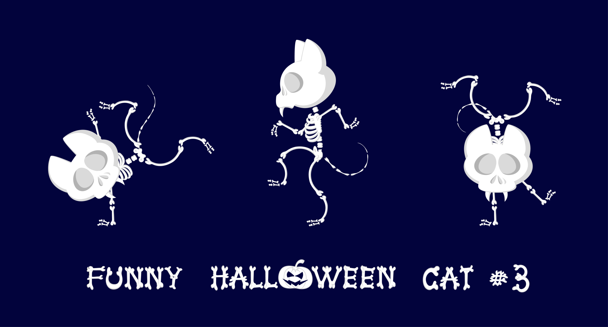 Set of 9 funny skeletons cats - 1 example image 3
