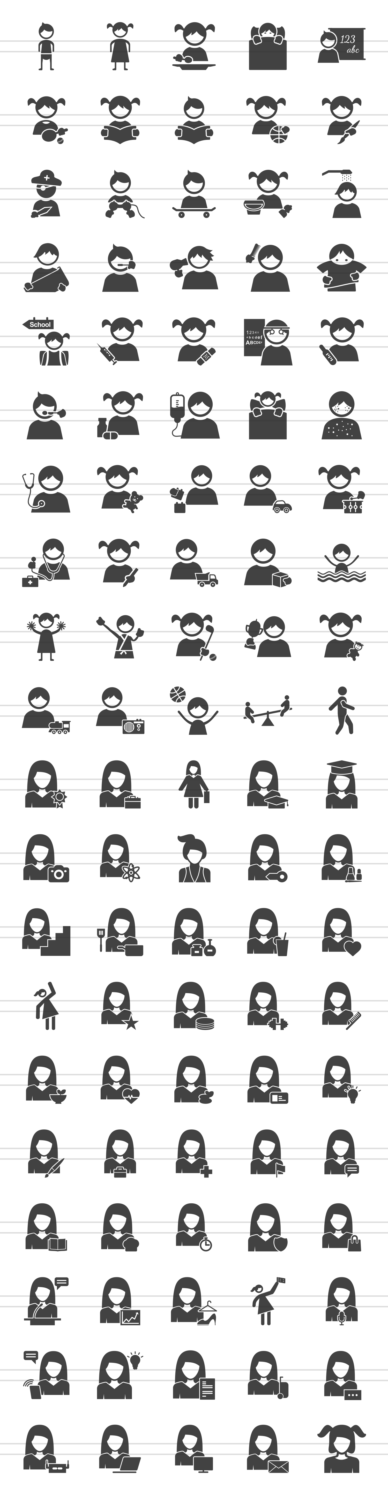 100 Women & Kids Glyph Icons example image 2