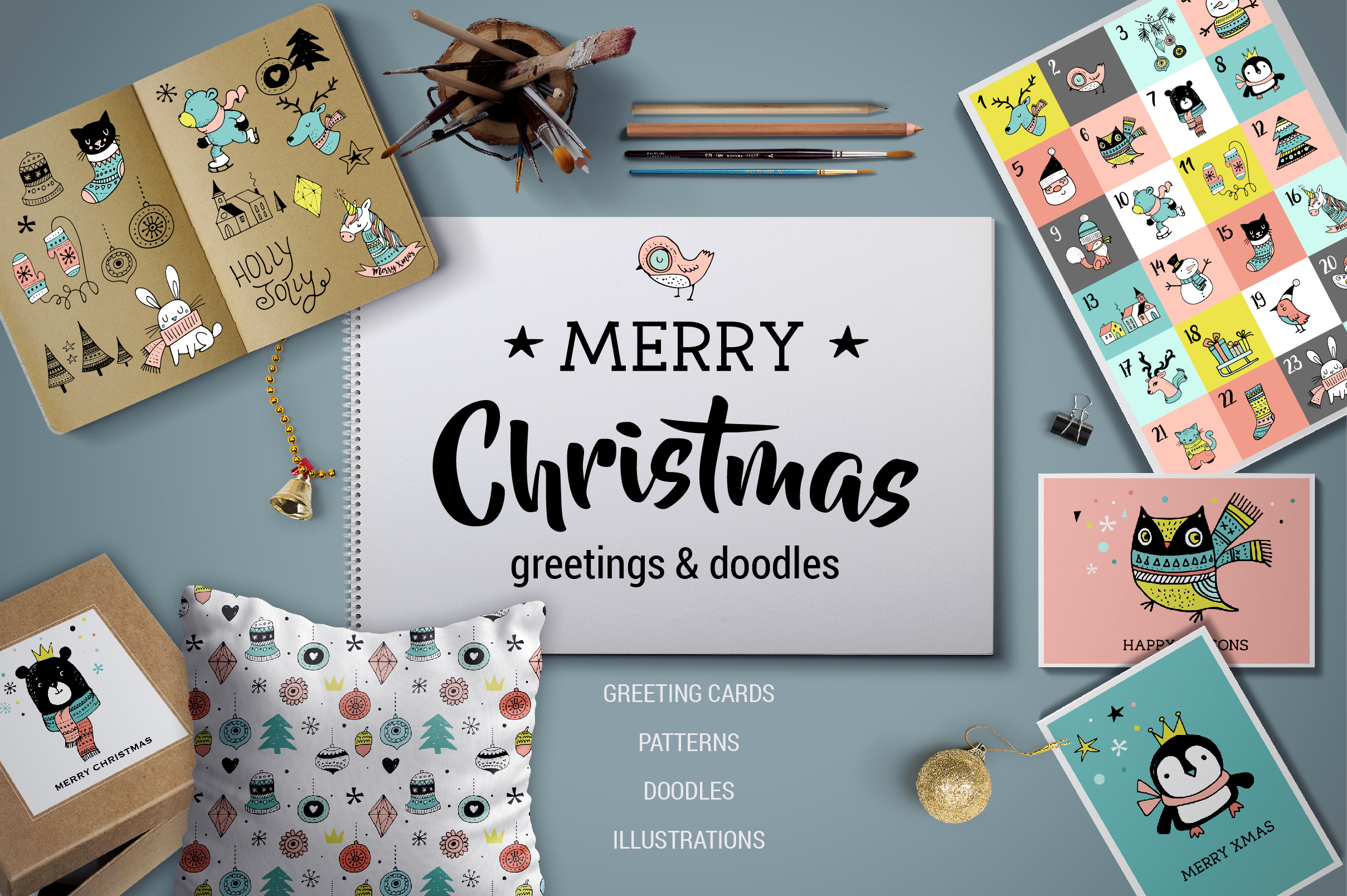 Merry Christmas greetings & doodles  example image 1