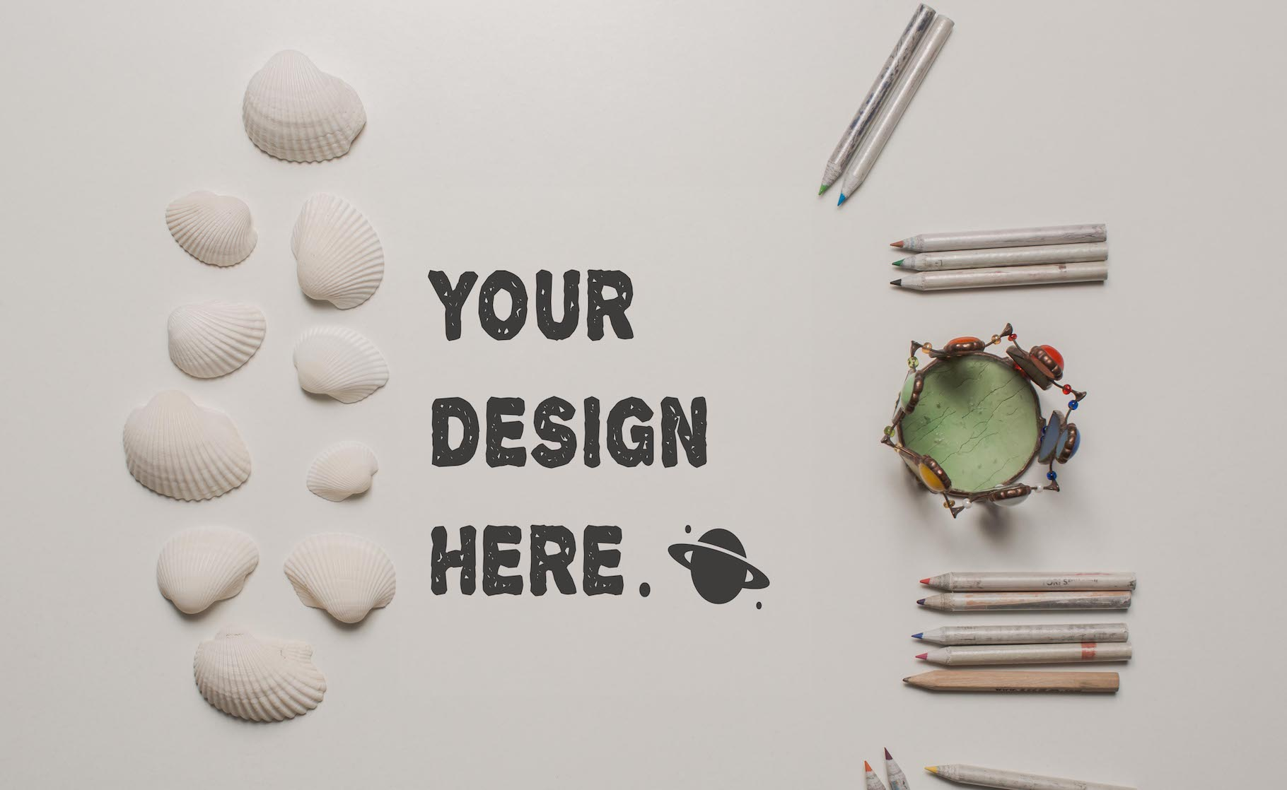 Set of 7 mockups on white table example image 8