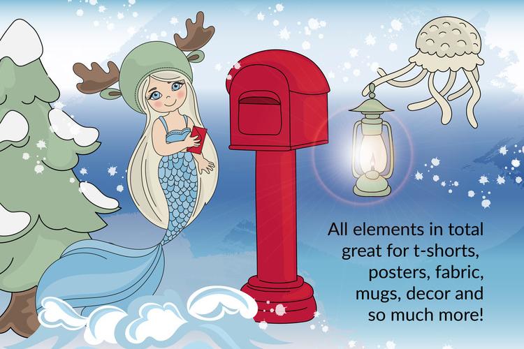 CHRISTMAS MERMAID Vector Illustration Set example image 5