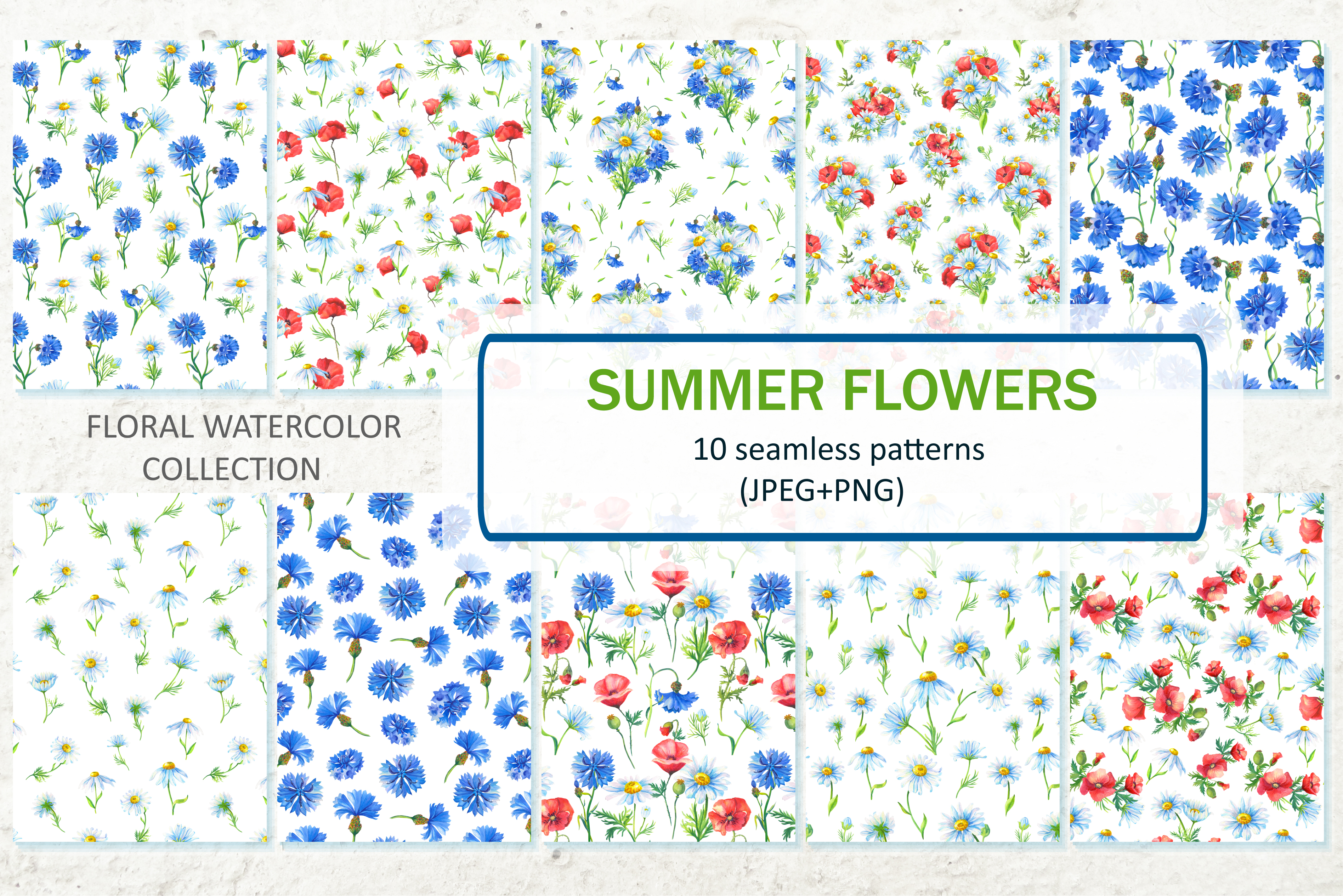 SUMMER FLOWERS.WATERCOLOR. example image 8