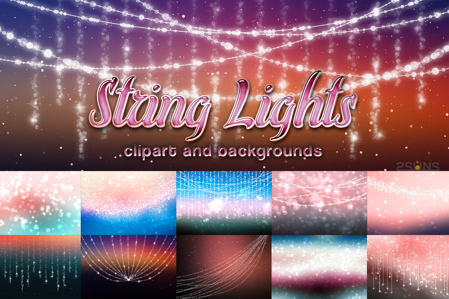 String lights, party lights, bokeh overlays,christmas lights example image 1