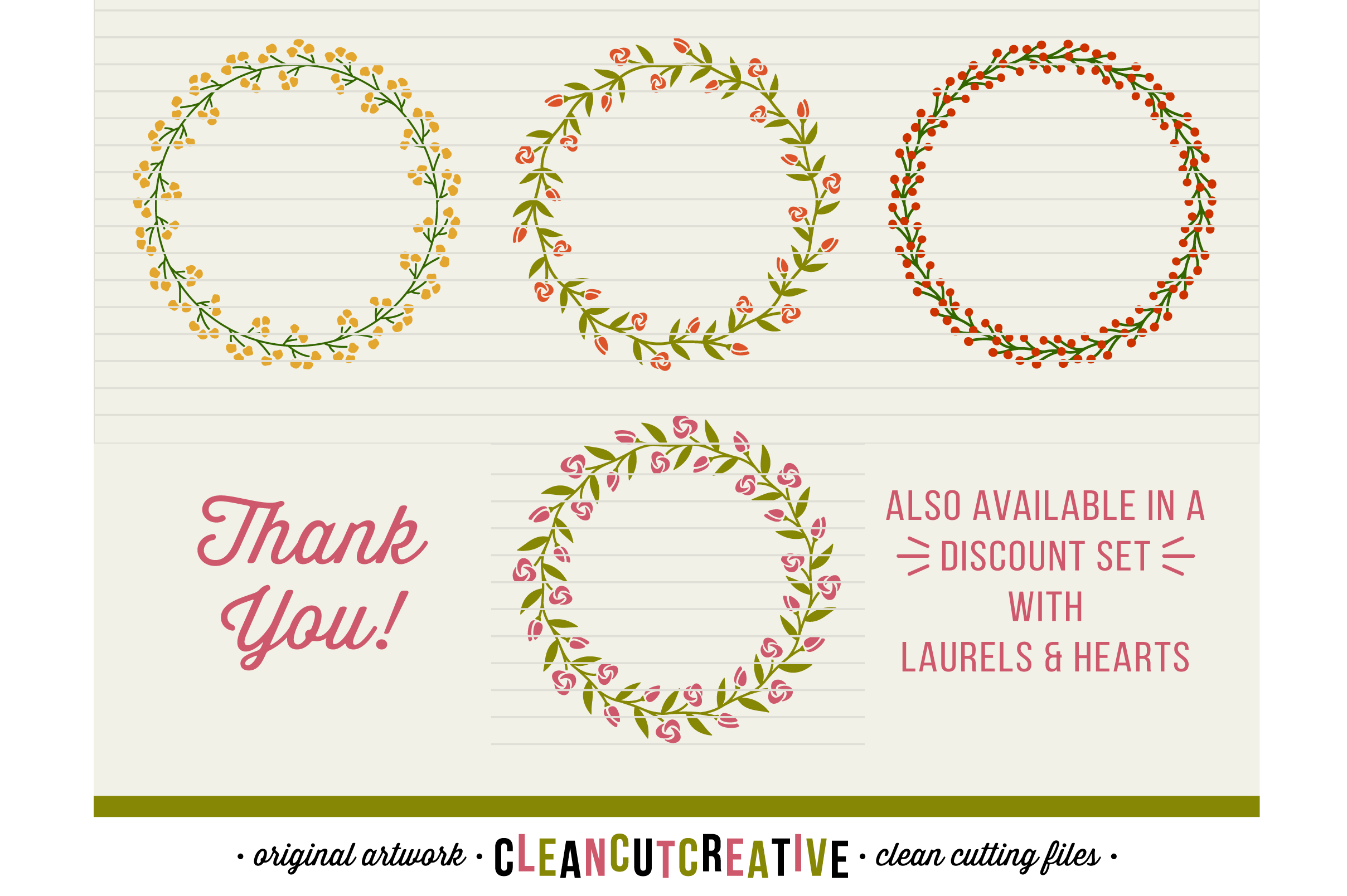 FLORAL MEGA BUNDLE 30 wreaths, laurels and hearts leaf frames - SVG DXF EPS PNG - for Cricut and Silhouette Cameo - clean cutting digital files example image 4