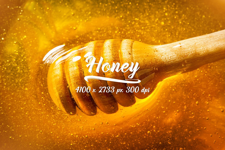 Honey bundle and macro photography texture of honey. example image 10