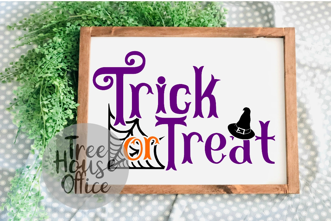 Trick or Treat Happy Halloween Witches Hat SVG PNG JPG DXF example image 3