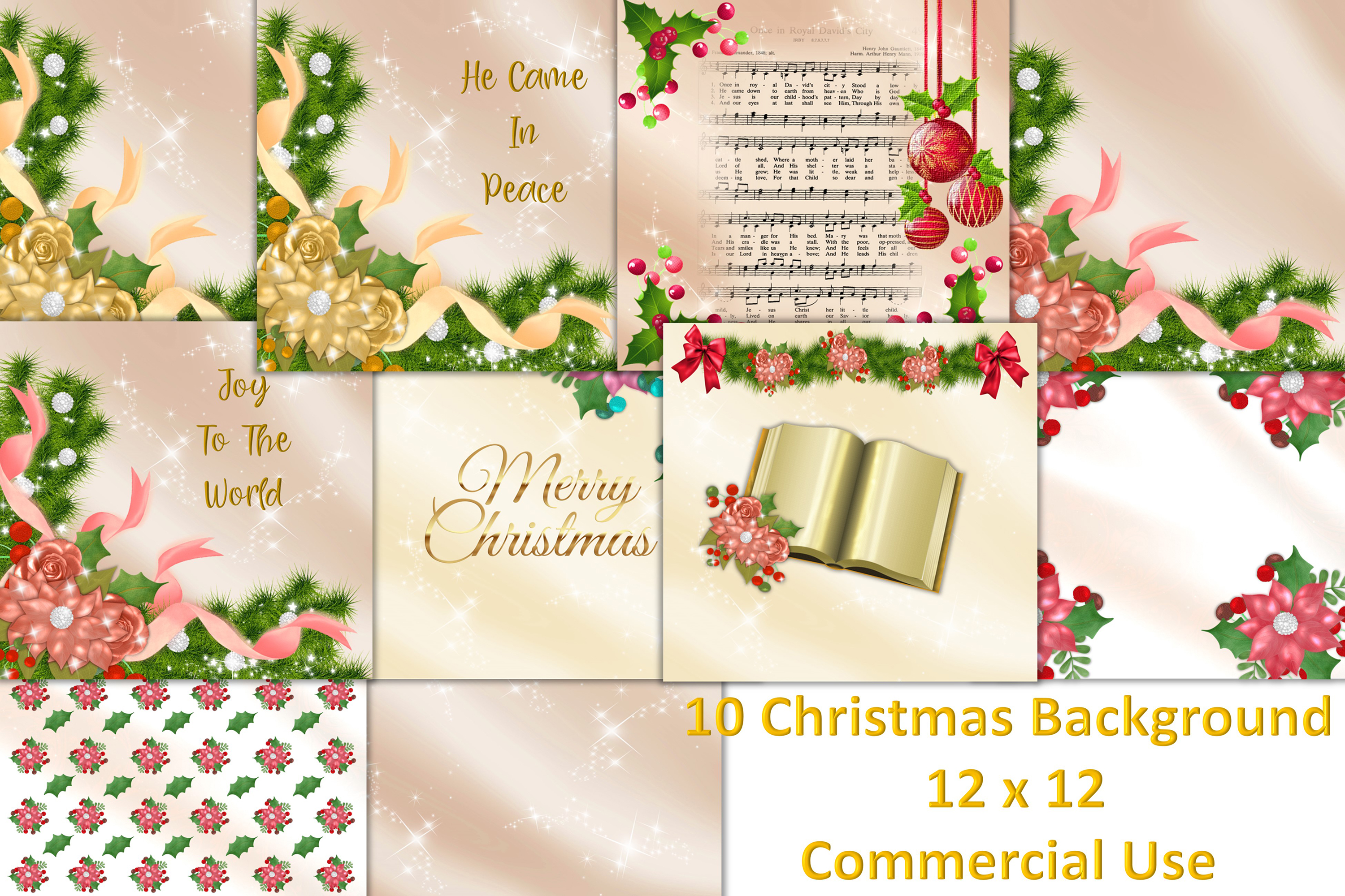 12x12 Backgrounds Christmas Scrapbooking Commercial Use example image 1