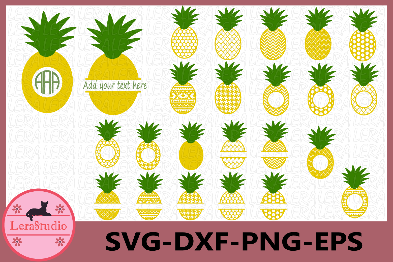 Pineapple Monogram SVG, Pineapples SVG File, Pineapple Svg example image 1