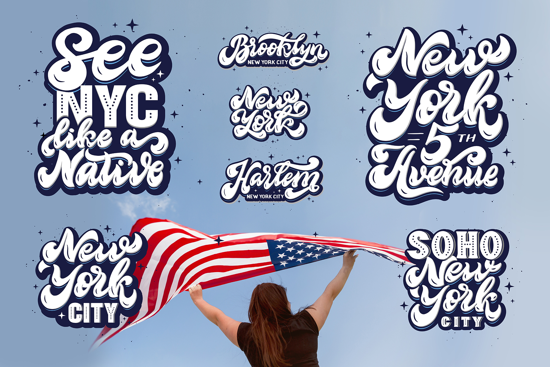 Set of New York hand drawn lettering example image 2