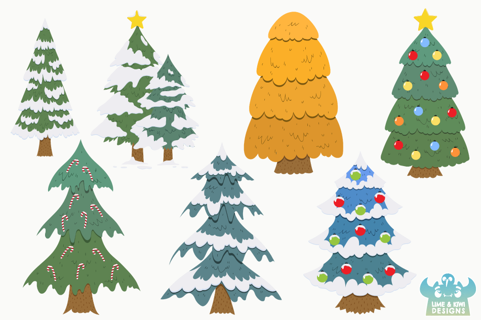 Christmas Trees Clipart, Instant Download Vector Art example image 2