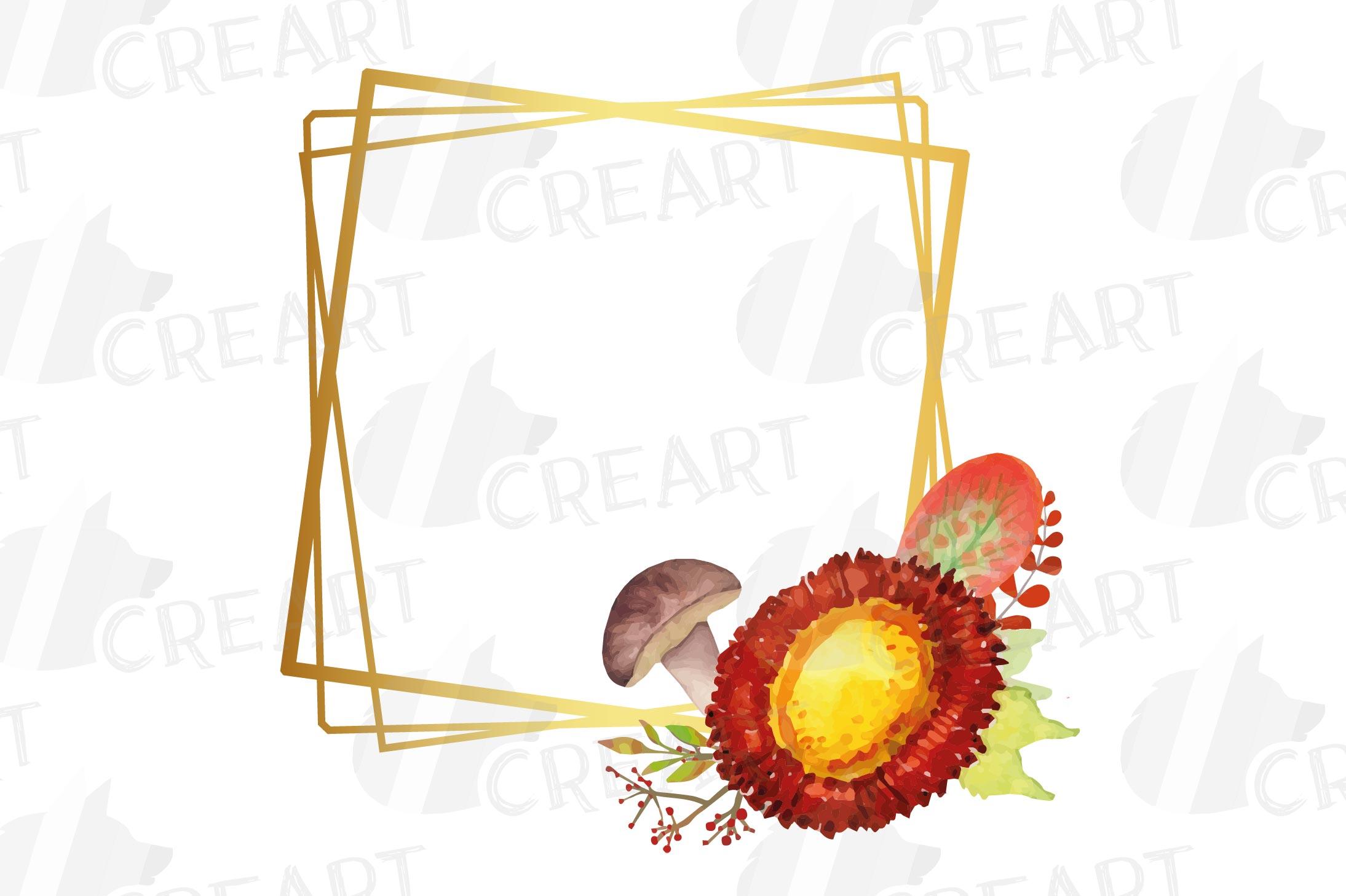 Watercolor elegant autumn geometric golden frame templates. example image 17