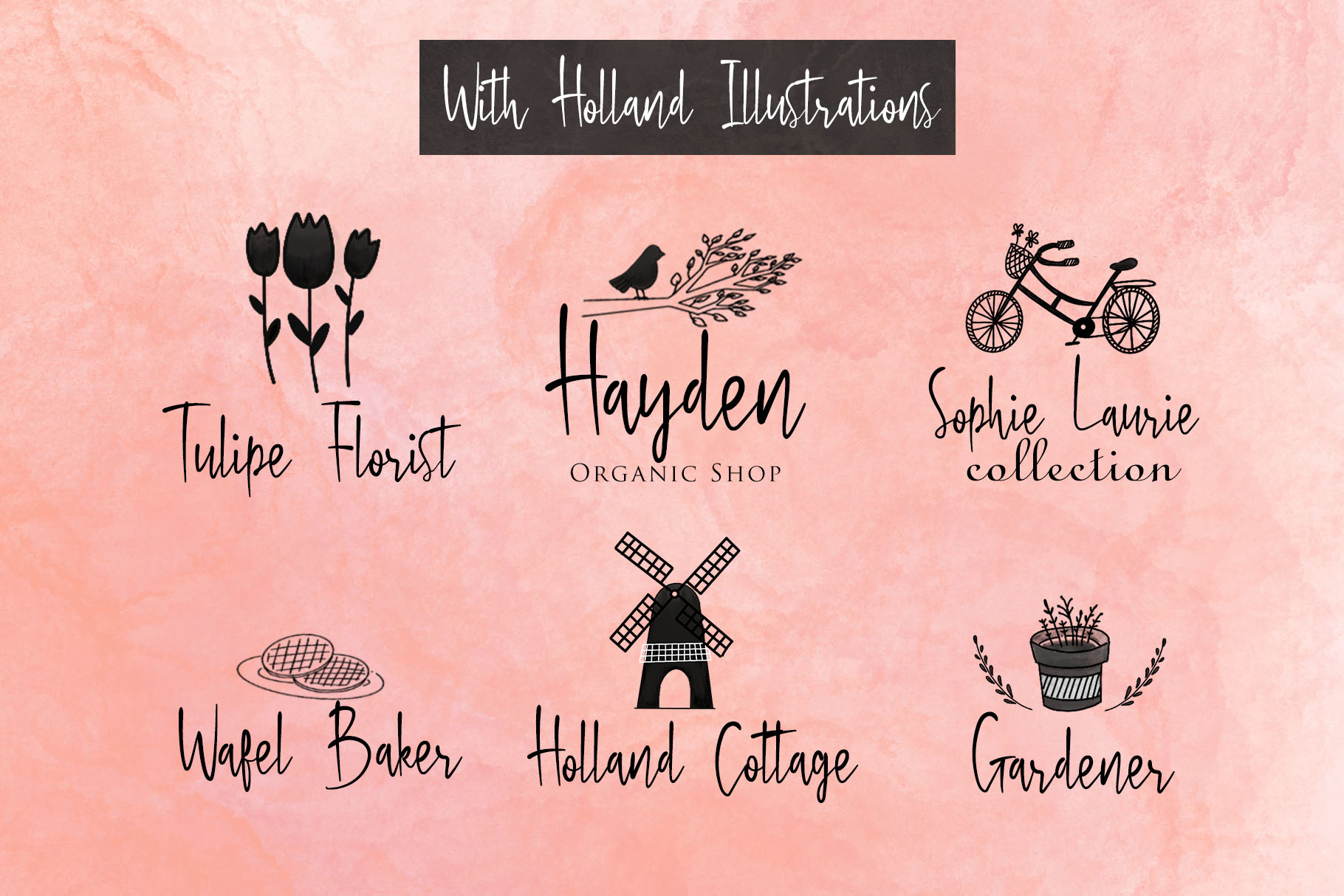 Bloem Garden - Handwritten Font with Watercolour Package example image 4