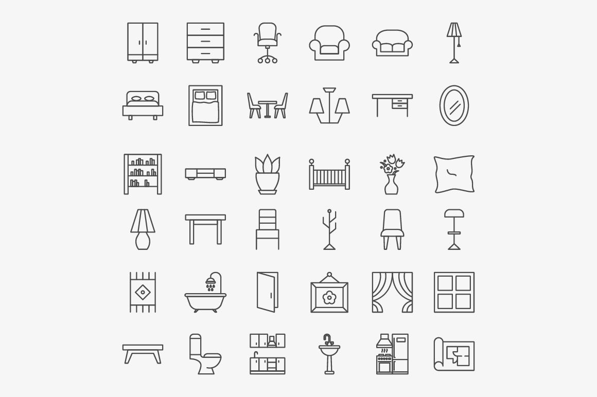 Furniture Line Art Icons example image 2