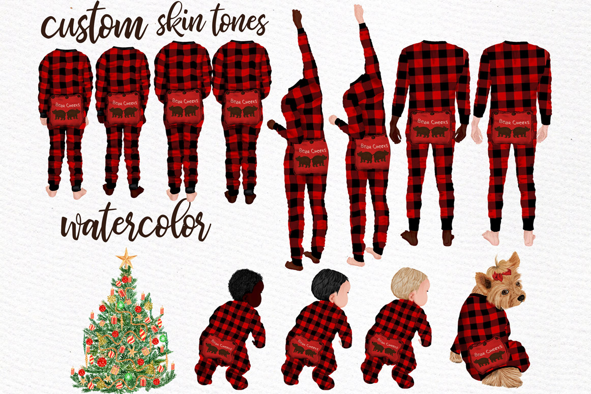 Watercolor Christmas Family Clipart, Christmas cards designs example image 8