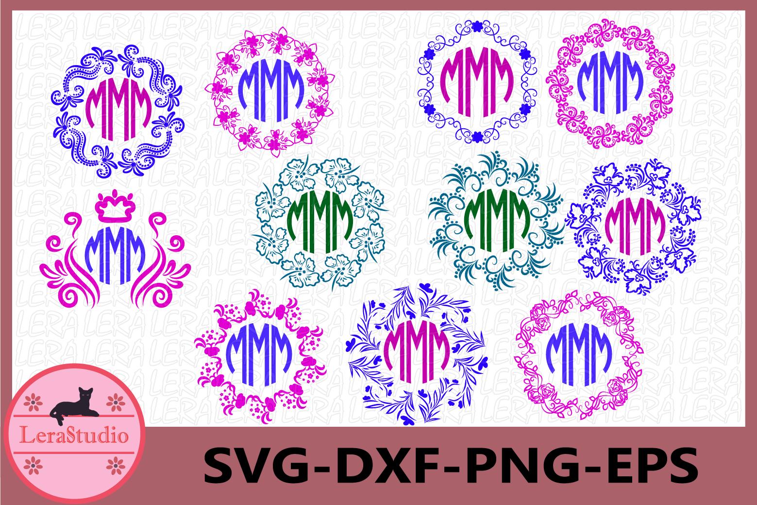 Pattern Frames Svg, Circle Monogram Frames svg, Frames example image 1