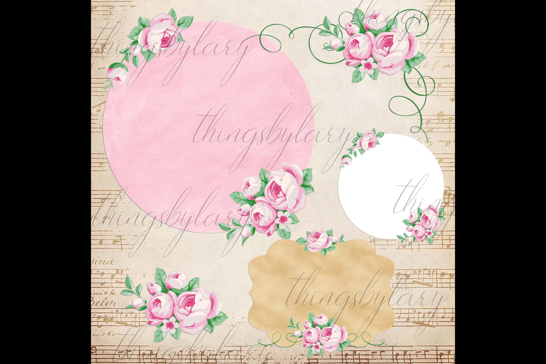 82 Romantic Pink Peony Clip Art Peony Border Bouquet Garden example image 5