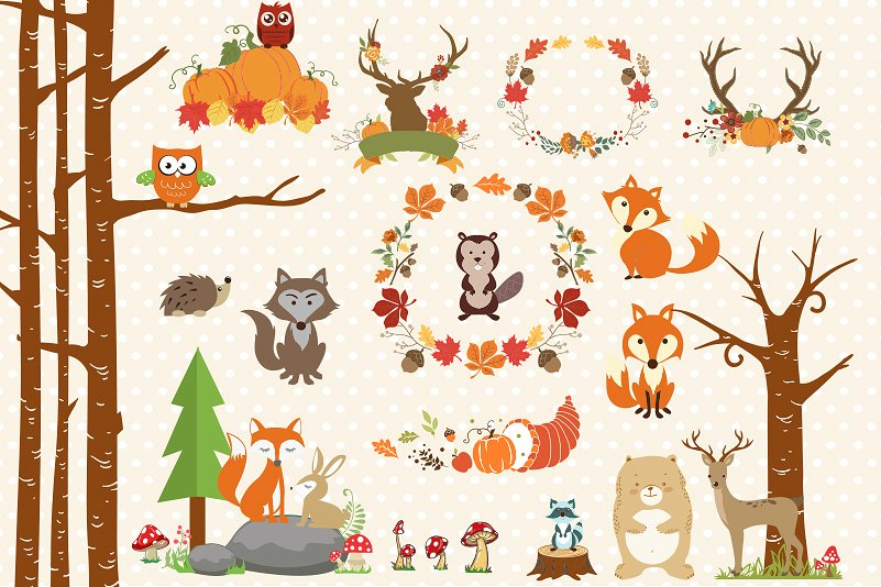 Autumn Clipart Bundle - 138 cliparts Eps and PNG example image 3