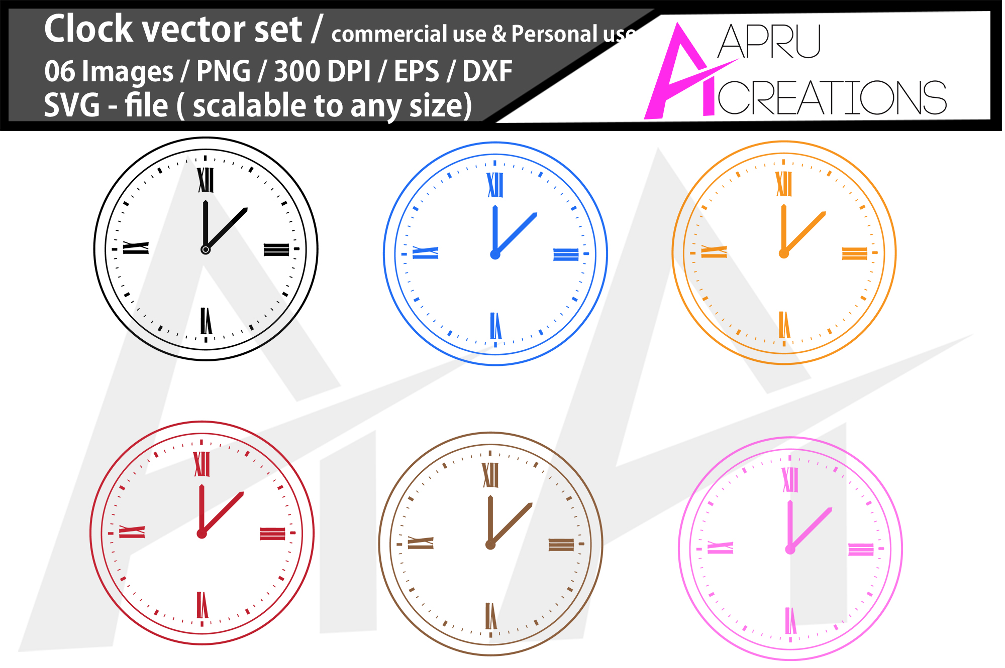clock silhouette/ clock svg example image 1
