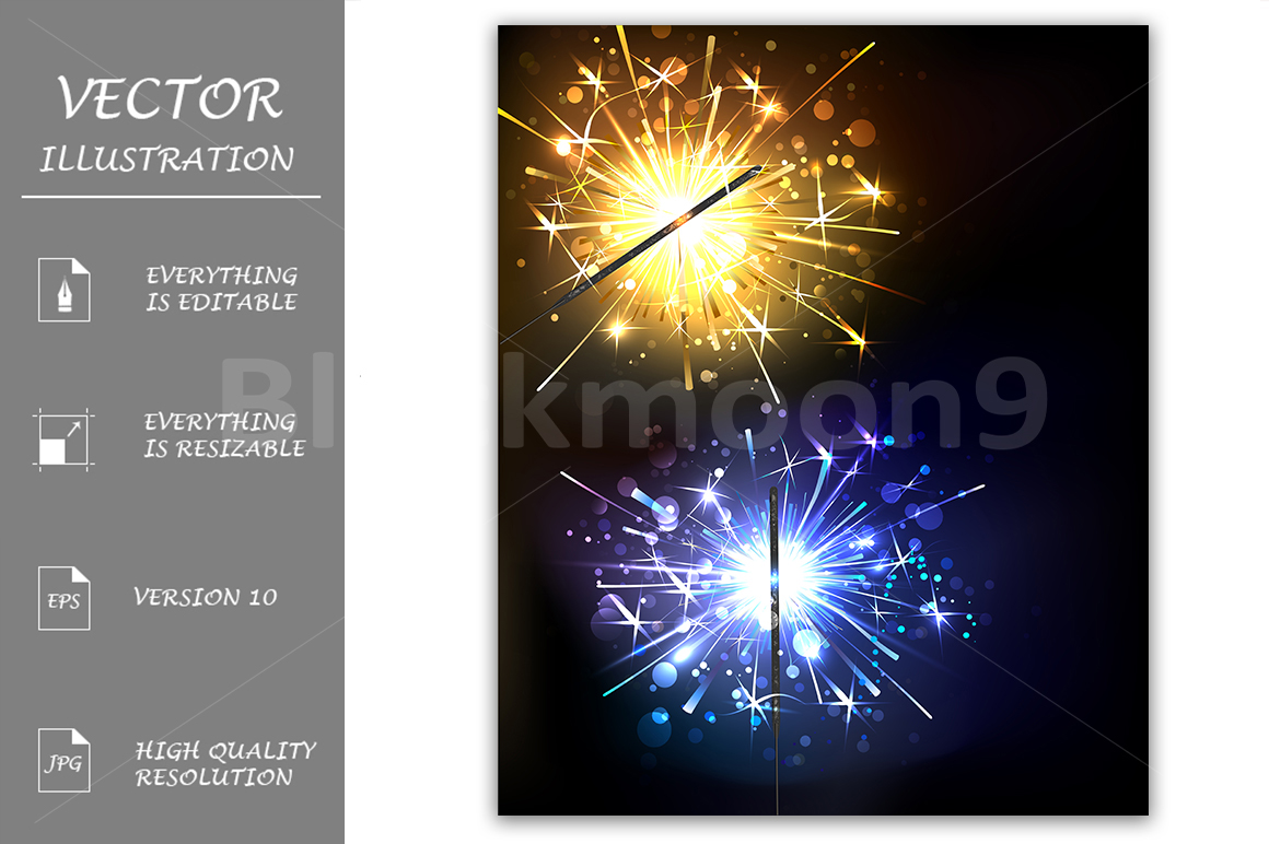 Yellow and Blue Sparkler example image 1
