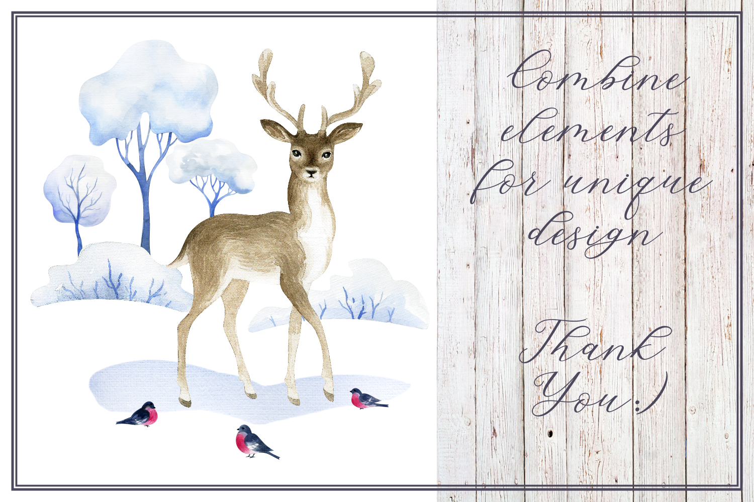 Winter tale. Watercolor cliparts example image 6