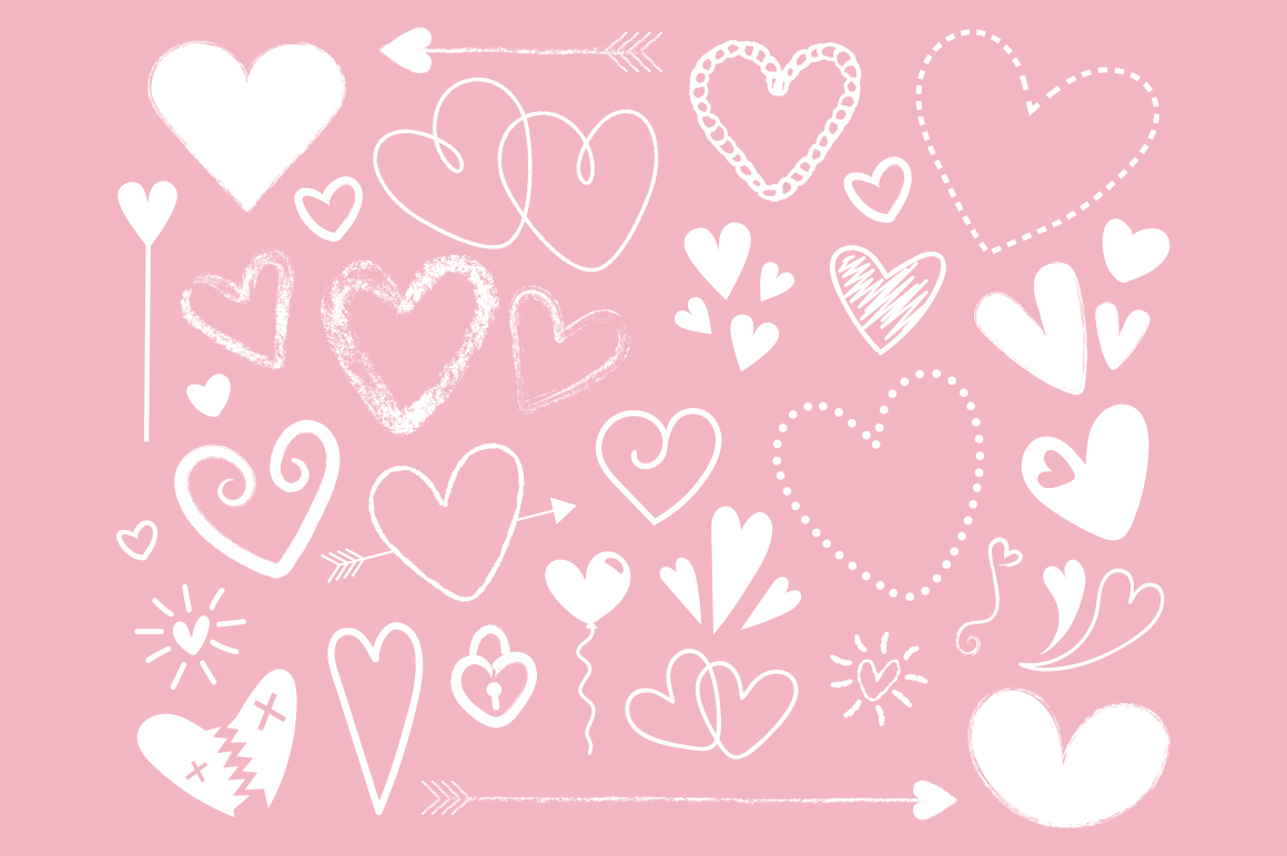 Black and White Silhouette Scribble Heart Clip Art Set example image 2