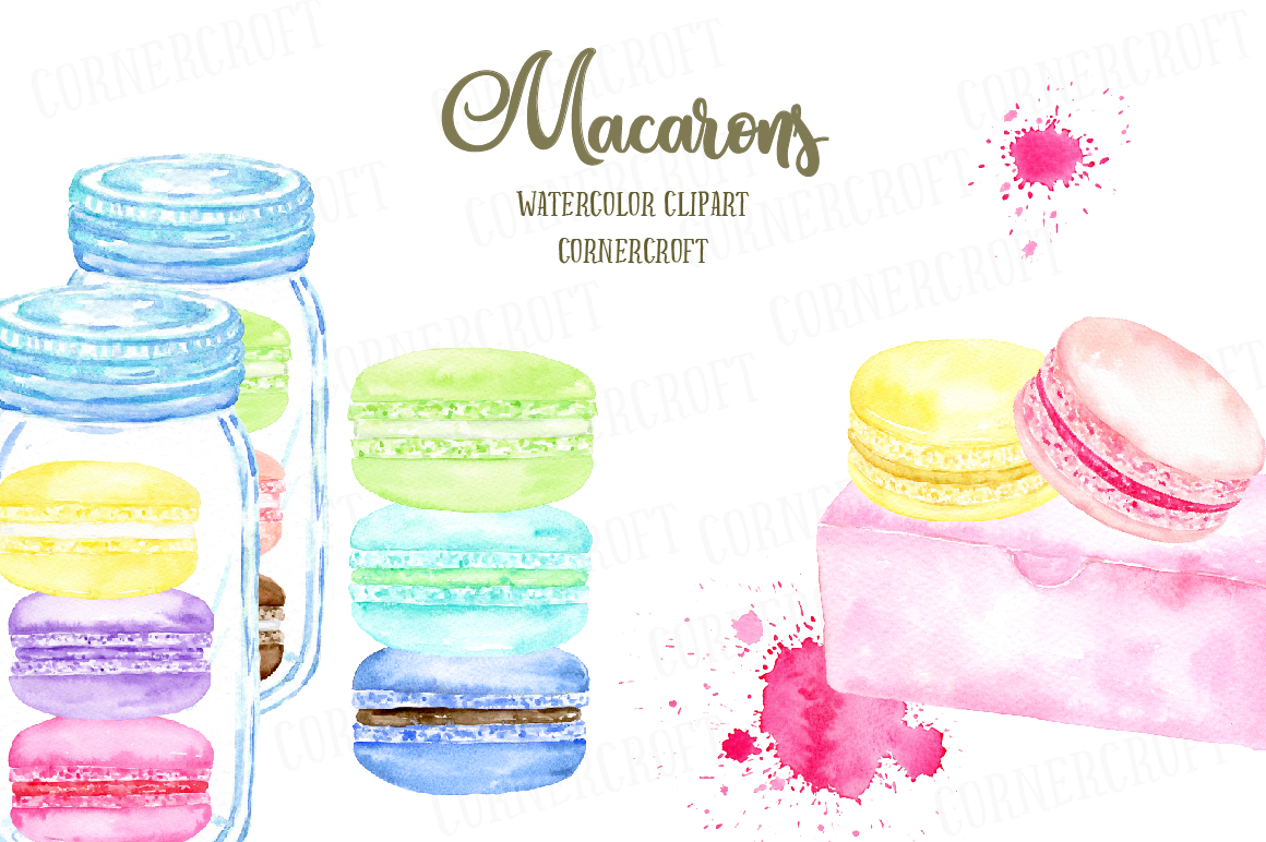 Watercolor Macaron Illustration example image 5