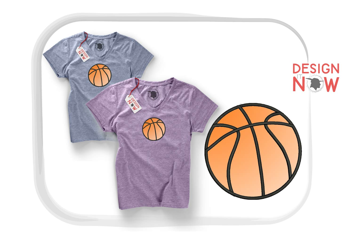 Basketball Applique Design, Sport Embroidery, Ball Applique example image 1