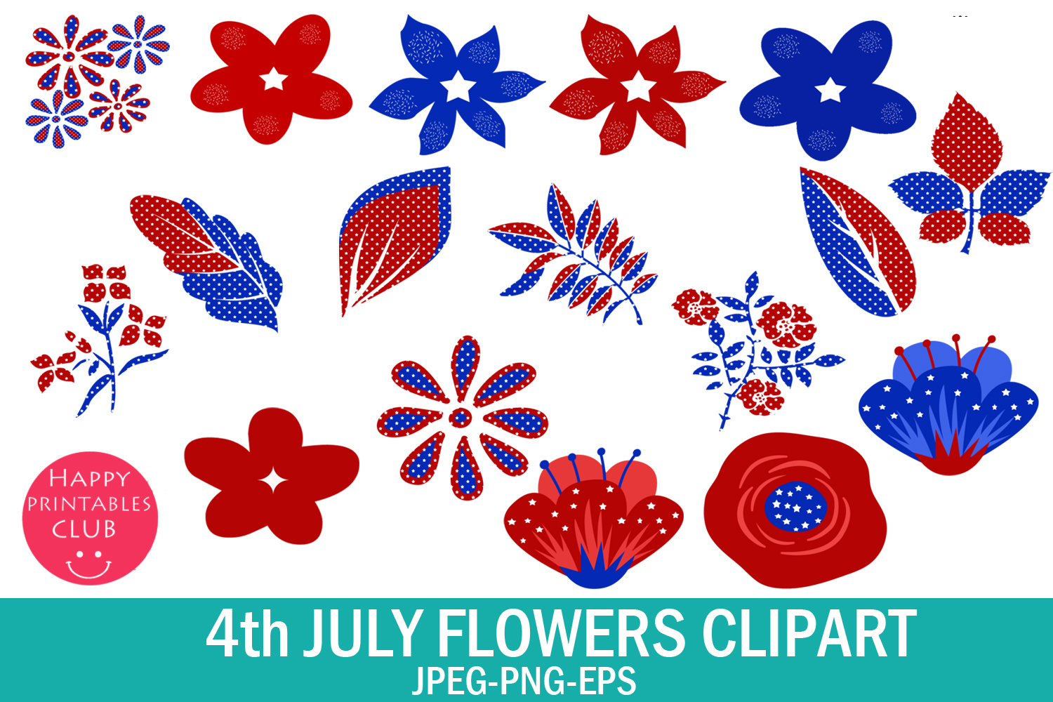 4th July Flowers Clipart- July 4 Flowers Graphics Clipart example image 2