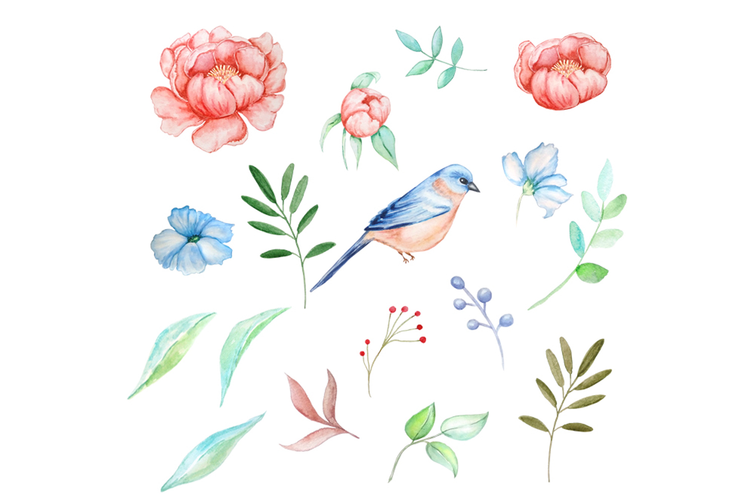Bird and Flowers Peony Watercolor Clipart example image 3