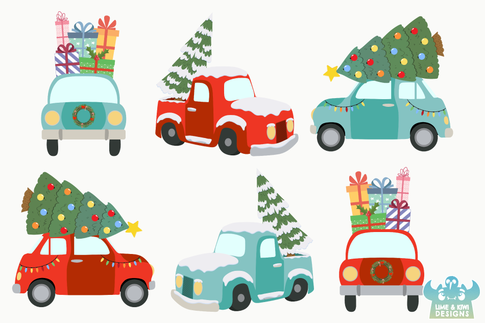 Christmas Vehicles Clipart, Instant Download Vector Art example image 2