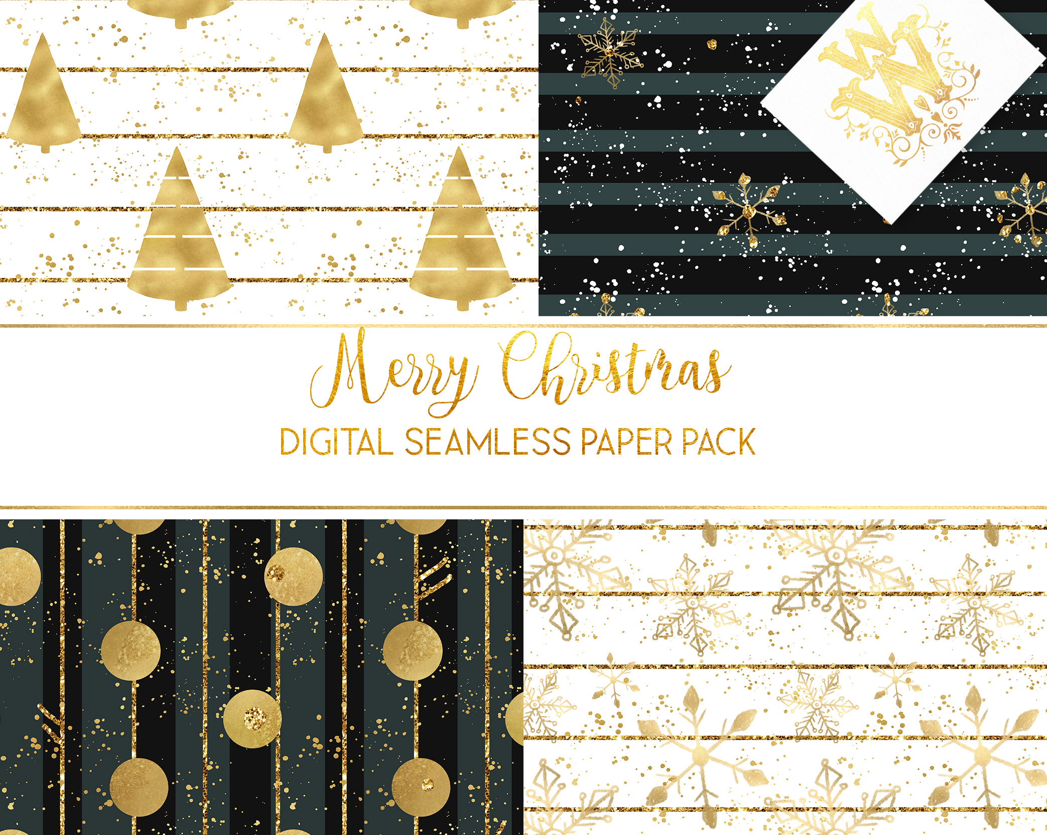 Christmas digital paper pack, seamless pattern snowflake example image 3