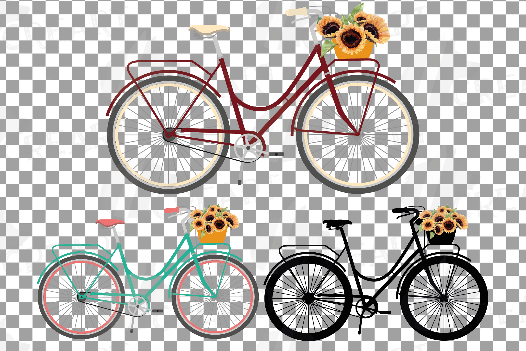Sunflower bouquets bicycles clip art. Floral bikes decor png example image 2